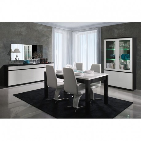 salle manger design noir et blanc laqu atout mobilier. Black Bedroom Furniture Sets. Home Design Ideas