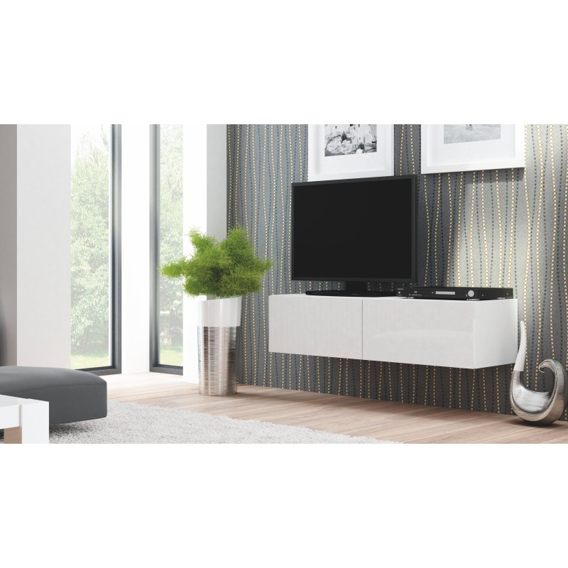Meuble tv design suspendu blanc laqu valo atout mobilier for Meuble tv suspendu blanc
