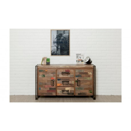 buffet bahut industriel lofto teck massif recycl et m tal atout mobilier. Black Bedroom Furniture Sets. Home Design Ideas