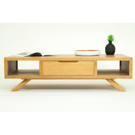Table basse scandinave sixis teck massif atout mobilier for Table basse scandinave salon