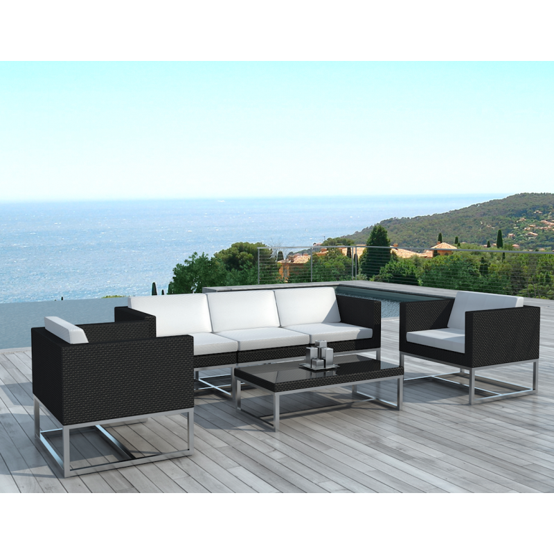 salon de jardin calpe r sine tress e noir et blanc atout mobilier. Black Bedroom Furniture Sets. Home Design Ideas