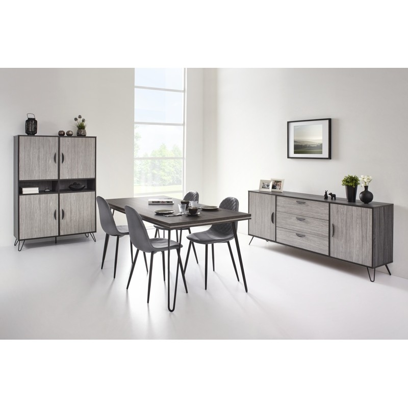 salle manger compl te elisa moderne ch ne gris cendr. Black Bedroom Furniture Sets. Home Design Ideas