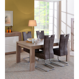 Table à manger contemporaine rectangulaire chêne gris 160 cm Jane