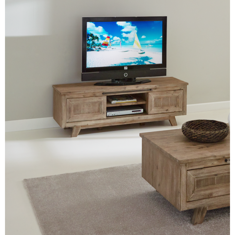 meuble tv bois massif 150 cm coloris gris brumeux eva atout mobilier. Black Bedroom Furniture Sets. Home Design Ideas