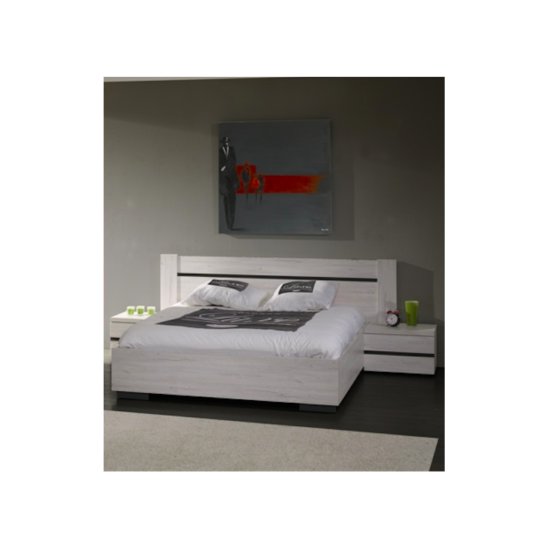 Chambre adulte gabrielle contemporaine compl te grise for Chambre contemporaine adulte