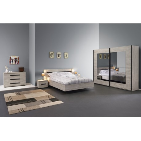 Chambre adulte compl te marta contemporaine coloris ch ne for Chambre contemporaine adulte