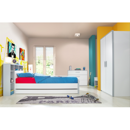 chambre juni enfant moderne compl te grise et blanche. Black Bedroom Furniture Sets. Home Design Ideas