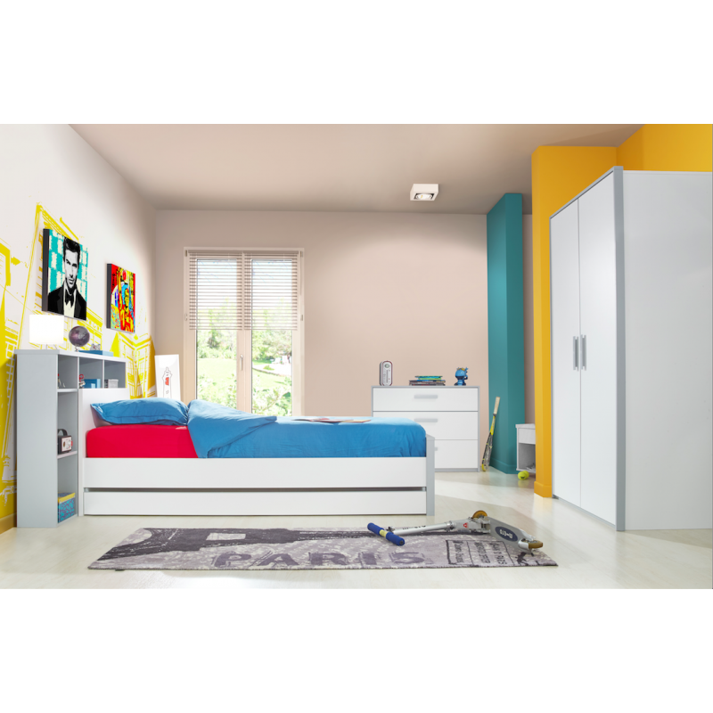 chambre juni enfant moderne compl te grise et blanche atout mobilier. Black Bedroom Furniture Sets. Home Design Ideas