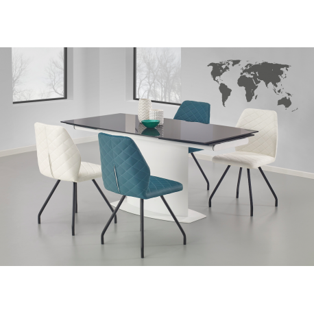Table manger design extensible blanche et noire sonny for Table a manger blanche design