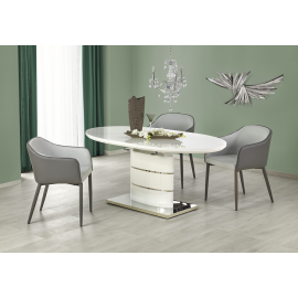 Table design ovale extensible blanc laqué Sane