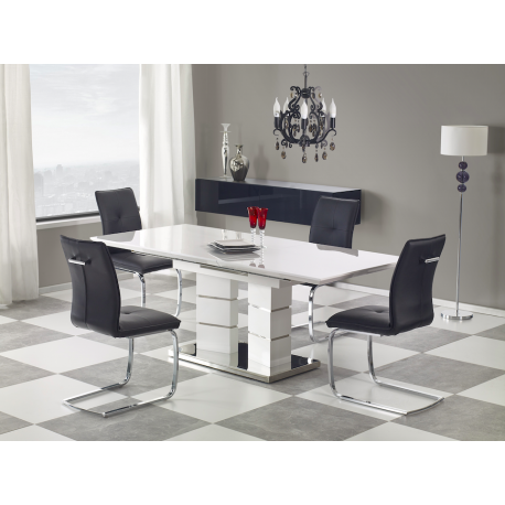 Table Blanc Laque Extensible.Table A Manger Design Extensible Blanc Laque Dora Atout Mobilier
