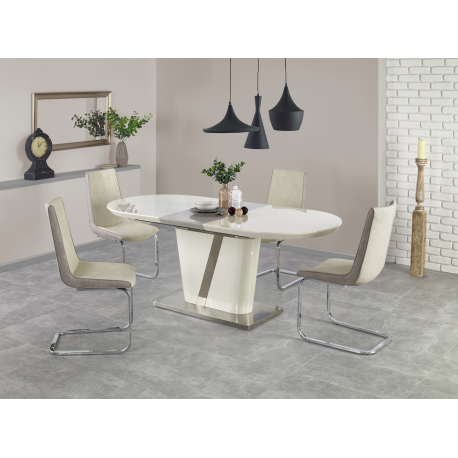 Table A Manger Ovale Design Extensible Laquee Creme Et Grise Baros