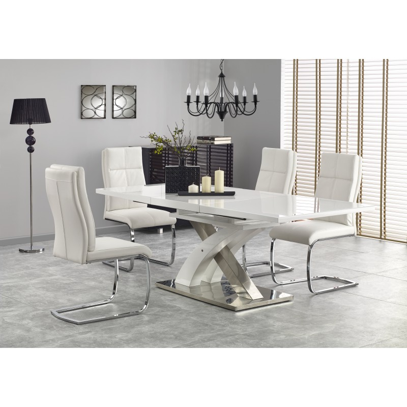 Table Blanc Laque Extensible.Table Blanche Laquee Design Extensible Atout Mobilier