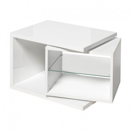 table d 39 appoint blanche moderne avec caisson amovible atout mobilier. Black Bedroom Furniture Sets. Home Design Ideas