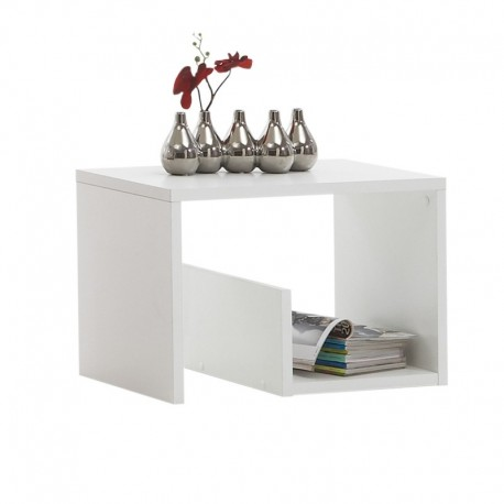 table d 39 appoint moderne blanche avec rangements atout. Black Bedroom Furniture Sets. Home Design Ideas