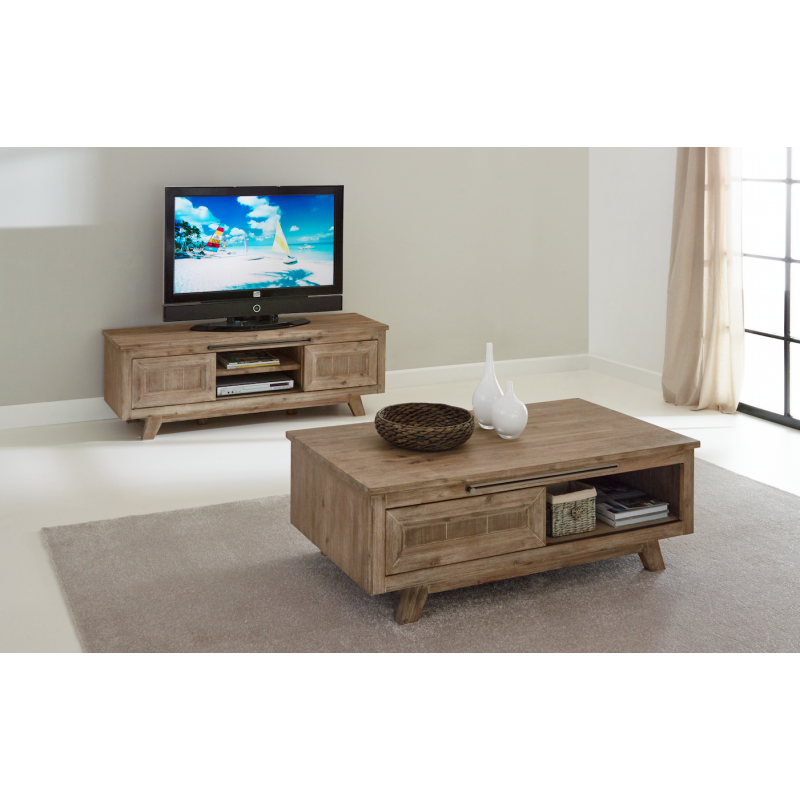 Ensemble salon eva meuble tv table basse coloris misty for Table basse et meuble tv