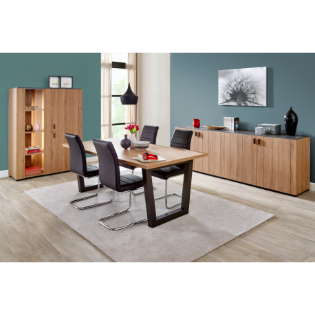 Salle manger compl te contemporaine couleur ch ne kara for Ensemble de salle a manger contemporain
