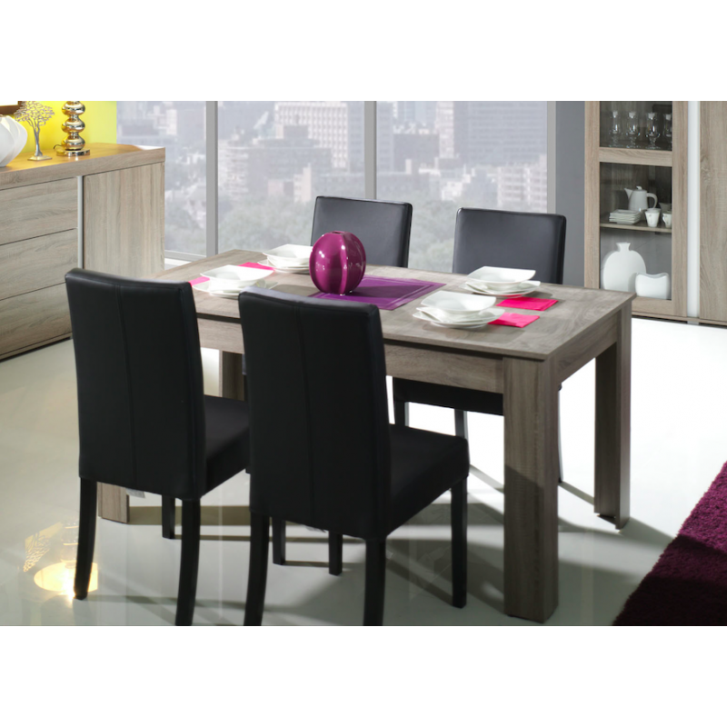 Table de salle manger contemporaine 160 cm ch ne taupe atout mobilier - Table de salle a manger contemporaine ...