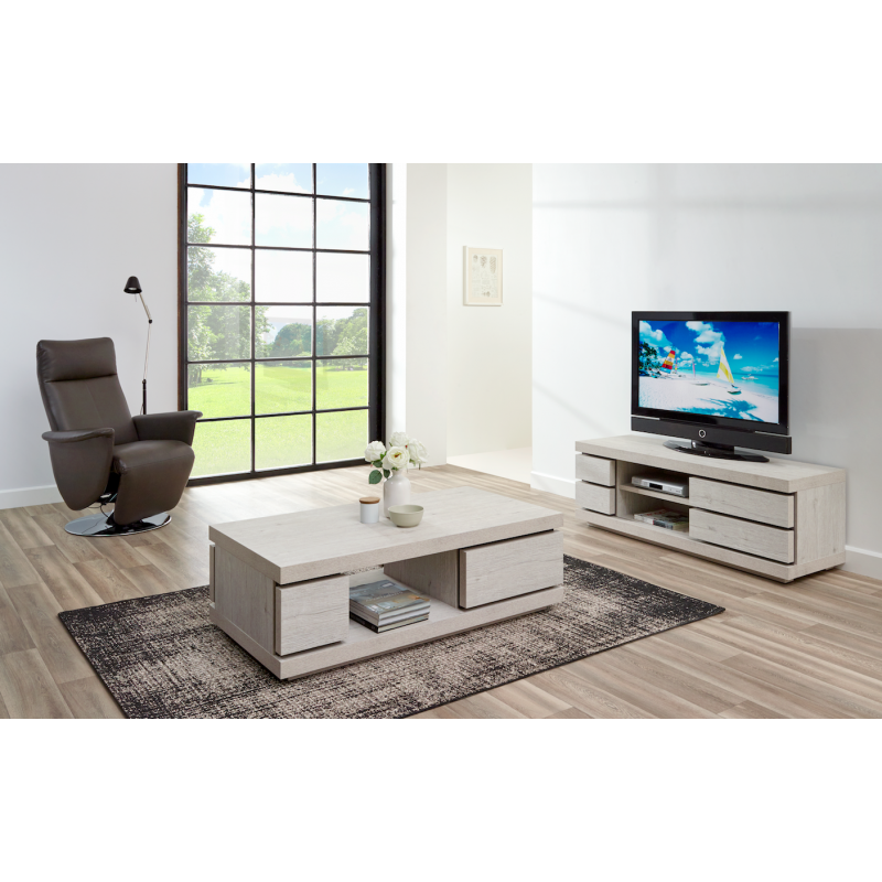 Meuble tv contemporain 140 cm gris soan atout mobilier for Meuble salon contemporain
