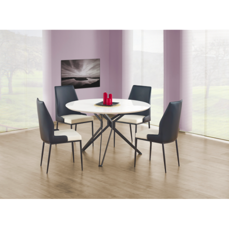 table de salle manger ronde 120 cm blanche laqu e et. Black Bedroom Furniture Sets. Home Design Ideas