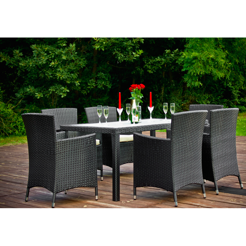 Salon de jardin 6 places noir r sine tress e atout mobilier for Salon de jardin 6 places resine tressee