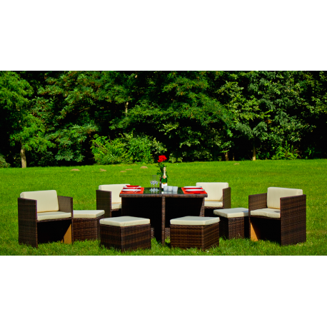 salon de jardin 8 personnes en r sine tress e marron atout mobilier. Black Bedroom Furniture Sets. Home Design Ideas