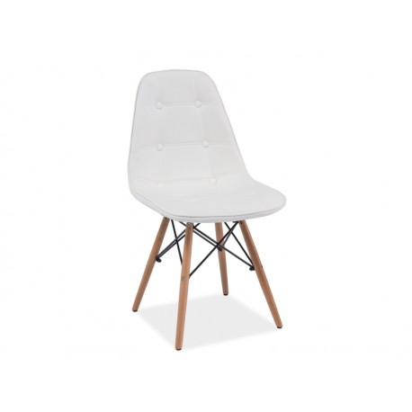 Chaise Nils en PU coloris blanc